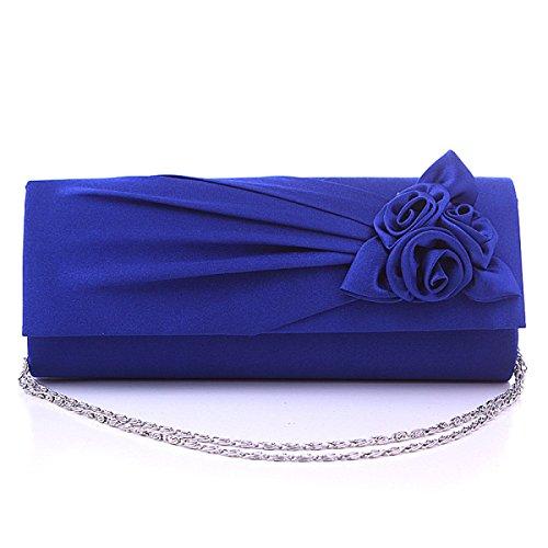 Le Nuove Donne Del Sacchetto Di Rose Fiori Signore Sacchetto Wedding Bag Banchetto Borsa Da Sera SapphireBlue