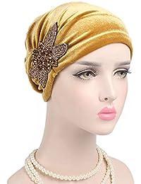 Kopftuch-Hijab Blumen Bandana Yoga Haarreif Knoten Turban Chemomütze Beanie*