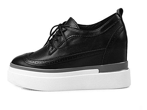 2017 nuova pelle all'interno l'aumento di scarpe con scarpe casual spessi allentate scarpe singoli pattini impermeabili Black