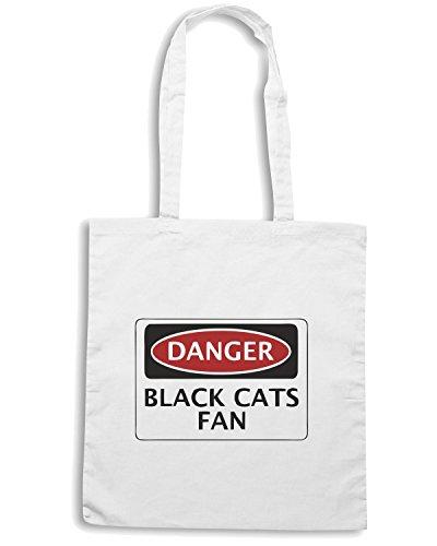 T-Shirtshock - Borsa Shopping WC0311 DANGER SUNDERLAND, BLACK CATS FAN, FOOTBALL FUNNY FAKE SAFETY SIGN Bianco