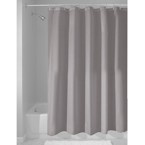InterDesign Mildew-Free Water-Repellent Fabric Shower Curtain, 180 x 180 cm - Gray thumbnail