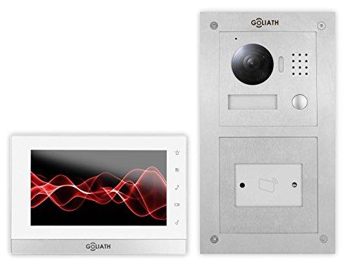 Preisvergleich Produktbild Goliath IP Türsprechanlage, Unterputz RFID Türstation, Edelstahl, HD Kamera, App Türöffner-Funktion, Schlüsselloser Zugang, Video-Speicher, 1 Familienhaus Set, AV-VTC53