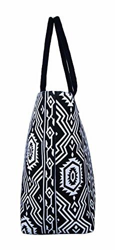 Da donna grande Borsa Shopper Borsa da spiaggia in tela a righe leggero Borsa a tracolla Holiday multicolore Polka Dot Black large Aztec Black & White