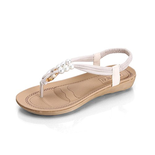 Longra Donna Boemia tacco piatto Toe Sandals Bianca