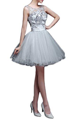 Gorgeous Bride Fashion Rundkragen A-Linie 2017 Tüll Spitze Satin Mini Abendkleider Kurz Ballkleider Cocktailkleider Silver