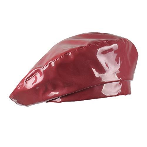 Melodycp Retro-Mütze, aus PU-Kunstleder, lackiert, modernes Vintage-Stil, leicht zu tragen rot -