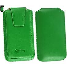 Emartbuy® Sleek Range Verde Cuero PU de Lujo Funda Carcasa Case Tipo Bolsa ( Size 4XL ) con Cierre Magnético y Mecanismo de Pestaña para Estirar apto para Huawei Ascend G7