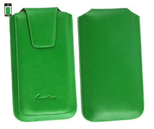 Emartbuy® Vonino Zun XO Smartphone Sleek Serie Grün Luxury PU Leder Tasche Hülle Schutzhülle Case Cover ( Größe 4XL ) Mit Ausziehhilfe