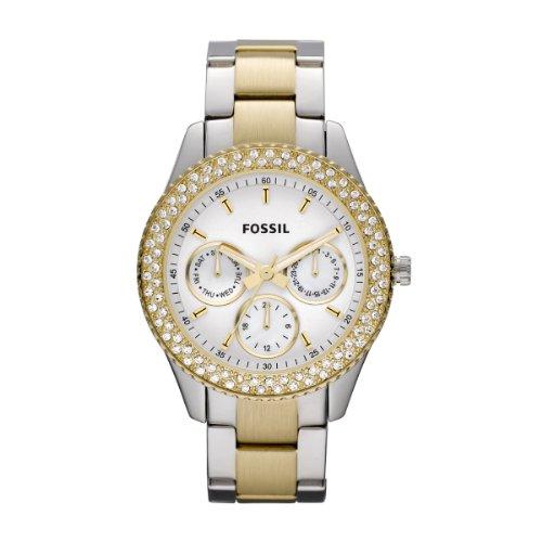 Fossil Stella ES2944 - Reloj analógico de cuarzo para mujer, correa de acero inoxidable multicolor (agujas luminiscentes)