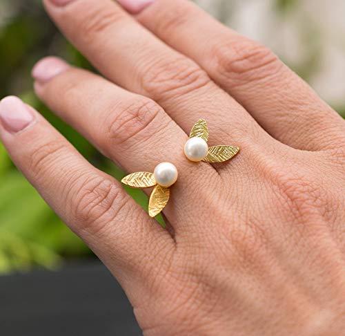 Perlen Ring, gold minimalistischen Ring, Anweisungsring, Sterling Silber Ring für Frauen, zarte Ring, Ehering, zierliche Ring