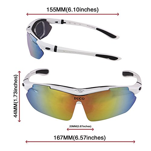 Duco Radsportbrille Outdoor Sonnenbrille für Sportler polarisierte 5 austauschbare Gläser UV400 SP0868 - 2