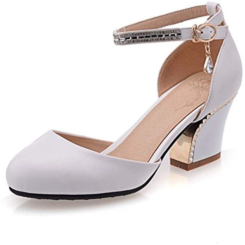 AdeeSu Plaqué Pour Femme Talon Pompes Round-Toe Polyuréthane Pompes Talon Chaussures Blanc, 36 EU, SLC00385 - B01G2B3AIO - d4cc95