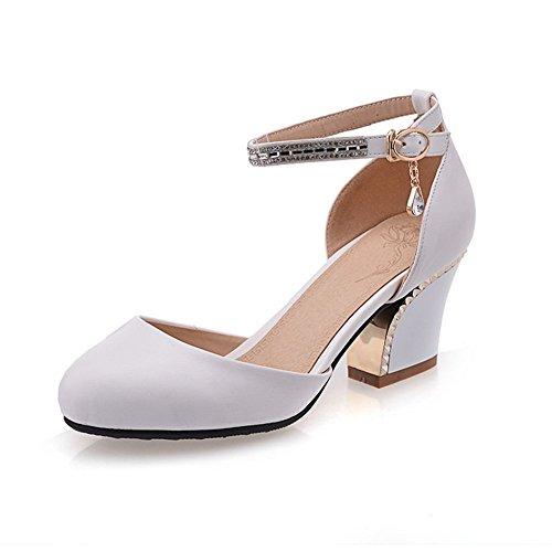 Adee plaqué pour femme Talon Round-Toe polyuréthane Pompes Chaussures Blanc