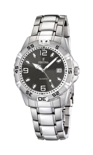 Festina Men's Quartz Watch with Grey Dial Analogue Display and Silver Stainless Steel Bracelet F16636/2