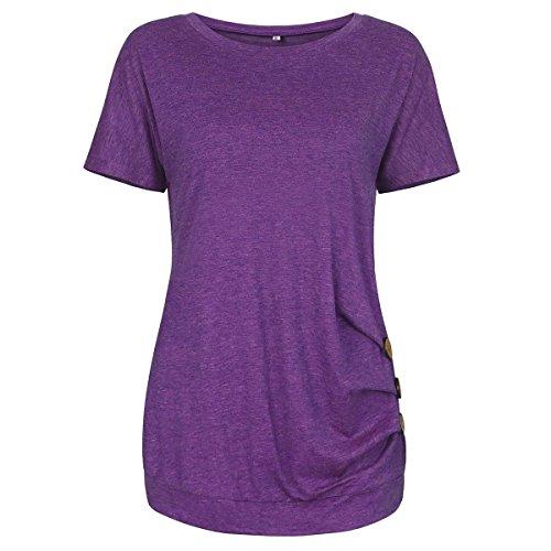 Einfarbiges T-Shirt mit Rundhalsausschnitt für Damen mit V-AusschnittKnopfverziertes Kurzarm-T-Shirt Frau lila M