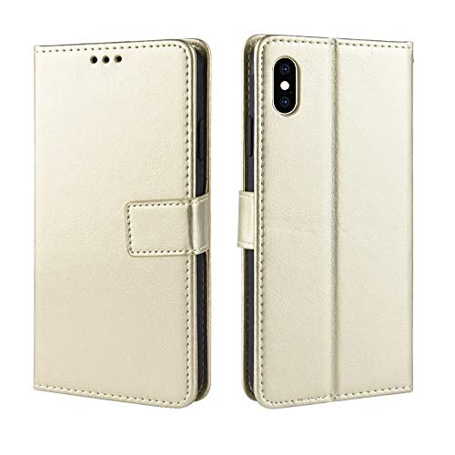Flip Case für iPhone XS Max 6,5 Zoll Crazy Horse Muster Textur Schutz Flip Kunstleder Wallet Style Handy-Tasche mit kurzem Sling (Color : Gold) -