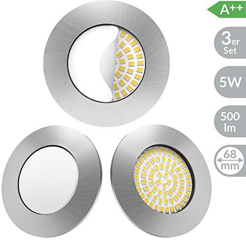 Scandinavian home 3er Set LED Einbaustrahler | ultra flach Badezimmer geeignet | warmweiß 220 / 230V CRI 90 5W 500lm 3000K | Edelstahldesign mit Milchglas | LED Spot Deckeneinbauleuchte 60-68mm