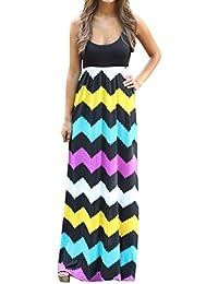 Yidarton Sommerkleid Damen Lang Chiffon High Waist Striped Sleeveless Beach Kleid Partykleid Elegant