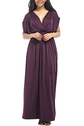 WIWIQS Frauen V-Ausschnitt Stretchy Casual Maxi Plus Size Brautjungfer Kleid, Lila, (Et Pinterest Kostüm)