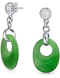 Bling Jewelry 925 Silver teñido de verde jade Chino Fortune cortar cuelgan aretes
