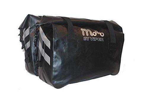 Moto Luggage Revo Pro Wasserdicht Satteltasche Tragekorb Cruising Touring Gepäck Motorrad Panniers Paar Bag (60 Liter) - Schwarz - One -