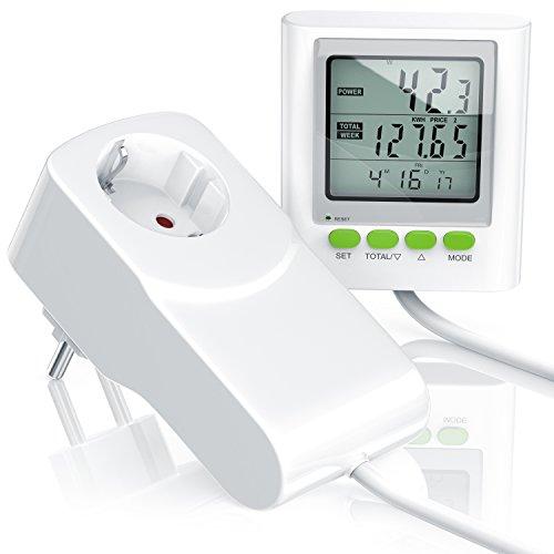 CSL - Stromkostenmessgerät Energiekostenmessgerät Stromverbrauchszähler inkl. Kabelverlängerung | Power Cost Monitor | Datum Uhrzeit Kosten CO2-Einstellungen | 3680W -