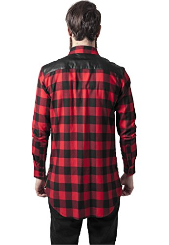 URBAN CLASSICS - Side Zip Leather Shoulder Flanell Shirt (black/red) Black/Red