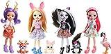 Enchantimals Coffret 4mini-poupées Sage Moufette, Danessa Biche, Blyss Lapin, Fanci Flamant et leurs figurines animales, jouet pour enfant, FTN36