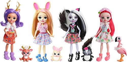 Enchantimals Colección Superamigas Pack de 4 Muñecas con Mascotas (Mattel FTN36)