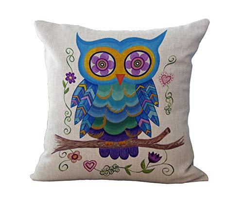 Baumwolle Und Leinen Garten Wind Big Eye Owl Kissen Kissen Kissen Sofa Schlafzimmer Dekorative Kissenbezug 4 Stück Set @ 4_Piece_Set_A