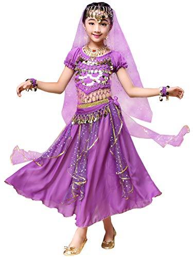 FStory&Winyee Mädchen Kostüm Bauchtanz Pailletten Indien Ägypten Dance Kinder Tanzkostüme Prinzessin Cosplay Kleid Blau Rot Rosa Karneval Verkleidung Party Faschingkostüme ab 3 Jahre 90-170cm (Violett 091)