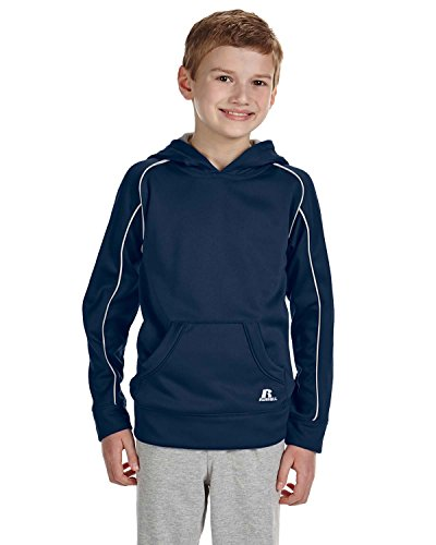 Russell Athletic Youth Tech Fleece pullover Hood Navy/White Large