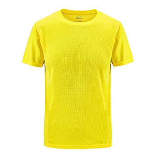 Herren Kurzarm Sportshirt Große Größen/Dorical Sommer Männer Rundhals Einfarbig Laufshirt Atmungsaktiv Shirt Schnell Trocknend Oversize Kurzarmshirt Perfekt für Fitness & Gym L-8XL(Gelb,L3)