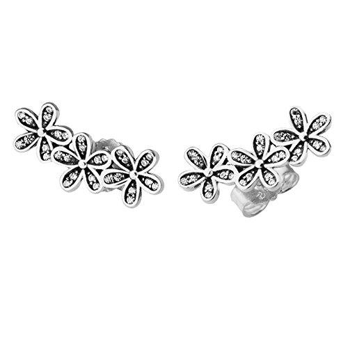 Funshopp europea primavera meravigliosi fiori margherite orecchini autentico argento 925gioielli di moda