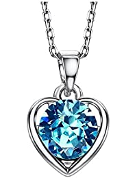 Wearyourfashion Blue Swarovski Elements Platinum Plated Heart Shape Pendant Necklace for Women