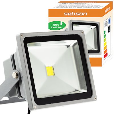 SEBSON 50W LED Fluter kalt weiß IP65 - Flutlicht Strahler- Floodlight von Sebson - Lampenhans.de