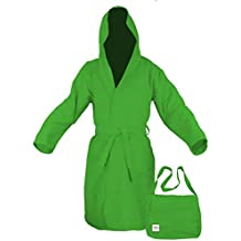 Tex Family - Albornoz de microfibra de color verde, talla M
