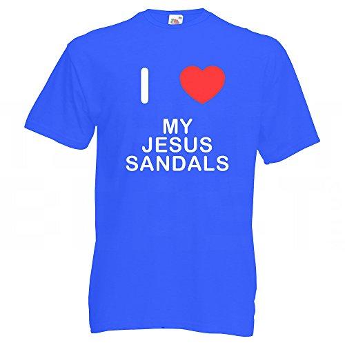 I Love My Jesus Sandals - T-Shirt Blau