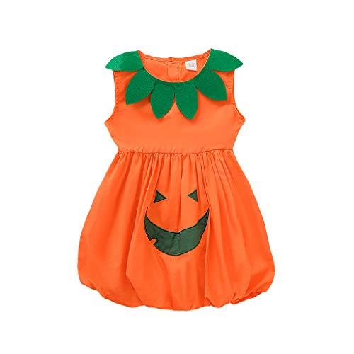 Tiger Kostüm Mütze Baby - Lazzboy Kleinkind Baby ärmellose Halloween Karikatur Kürbis Druck Kleid Kleidung Kostüm Kinder Karneval Fasching Kostüme Mit Hut Cosplay(Orange,Höhe:120)