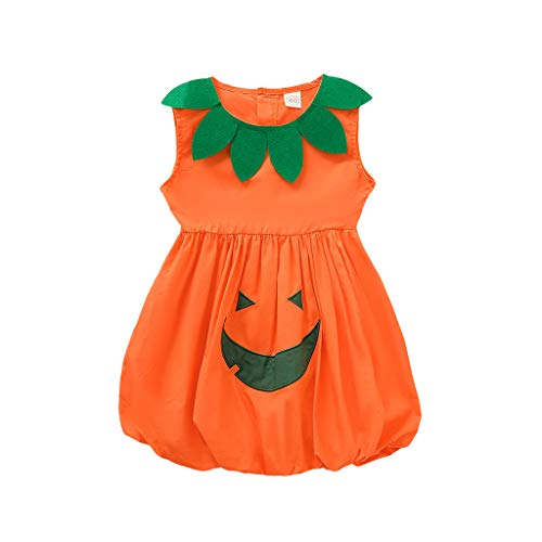 Zilosconcy Halloween Mädchen Netz Tutu Rock Ärmellos Kleid Cartoon Teufel Kürbis Brief Drucken Halloween Mädchen Kleid Kostüm Kürbis Kleid Hohe Qualität 100% - Baby T Bird Kostüm