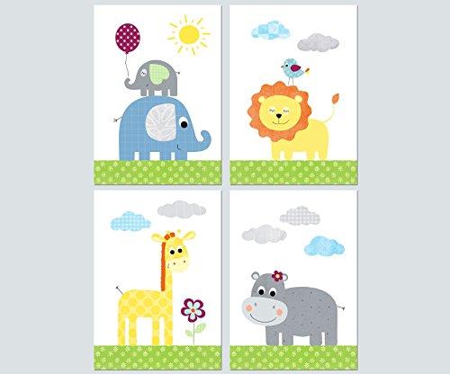 Lalelu-Prints 4er Set Poster Kinderzimmer Deko Junge Mädchen DIN A4 Dschungeltiere bunt Elefant Giraffe Löwe Nilpferd Dschungel Safari I Kinderbilder Wandgestaltung Babyzimmer Wandbilder