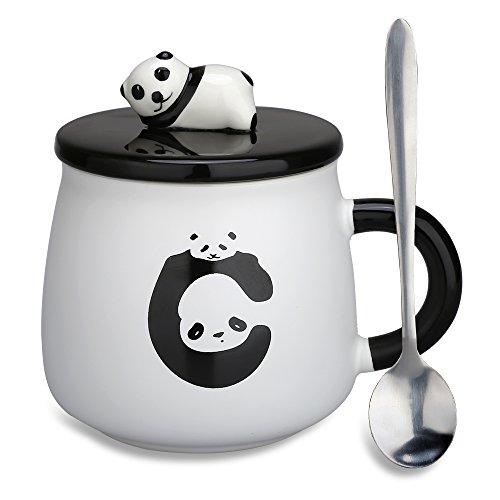 nke–Panda 3D Geburtstag Weihnachtsgeschenk Kaffee Tee Tassen mit Deckel und Löffel für besondere Freunde, Mutter, Mädchen, Kinder Fat Panda (Kinder-tee-tassen)