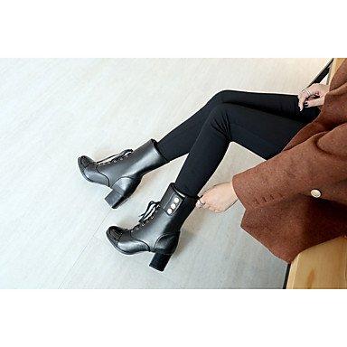 GLL&xuezi Da donna Stivaletti Stivali Autunno Inverno Finta pelle Formale Lacci Più materiali Quadrato Bianco Nero 5 - 7 cm white
