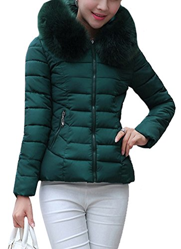 Brinny Damen Mädchen Westen Mantel Parka Daunenjacke Winter Warm Sleeve lang Jacke Kapuze Fell künstlich 155 Grün