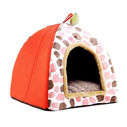 YAN FEI Hund Nest, Semi-geschlossenen Flanell Soft And Warm Yurt Kleine Hund Warm Katze Nest Pet Nest Kreative Haustierbetten (Color : Orange-L) - Klimaanlage Color-glanz