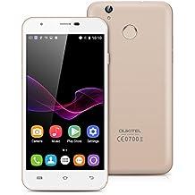 "Oukitel U7 Plus - Smartphone libre Android 6.0 (4G LTE, Pantalla 5.5"" LTPS, 16GB ROM + 2GB RAM, Quad-Core, Lector de huellas dactilares, Dual SIM), Dorado"