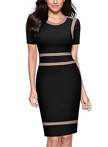 MIUSOL Women's Scoop Neck Optil Illusion Business Bodycon Dresses for Women(Black,XL-14)