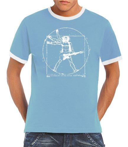 Touchlines Herren T-Shirt Da Vinci Rock Guitar Ringer Kontrast, Skyblue/White, XXL, B21051 Preisvergleich