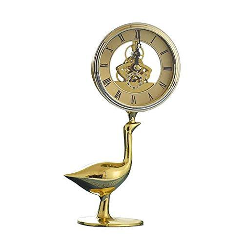 PIGE European Creative Design Horloge en Cuivre Salon Salle D'étude Modèle Simple Créatif Horloge De Bureau Artisanat Ornements (Couleur : Swan Shape)