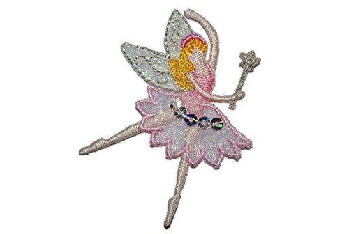 3-D - Fee / Ballerina - 5,3 cm * 6,7 cm - Bügelbild Aufnäher / Applikation rosa pink - Elfen (Prinzessin Fee Für Flügel Rosa Mädchen)